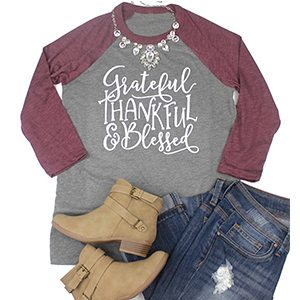 Red Grateful Thankful Blessed Shirt