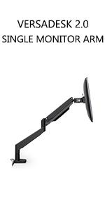 versadesk, single monitor arm, monitor arm