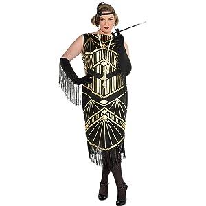 flapper costume women dress headband 1920s gatsby art deco vintage jazz roaring 20s