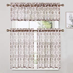 taupe sheer kitchen curtain