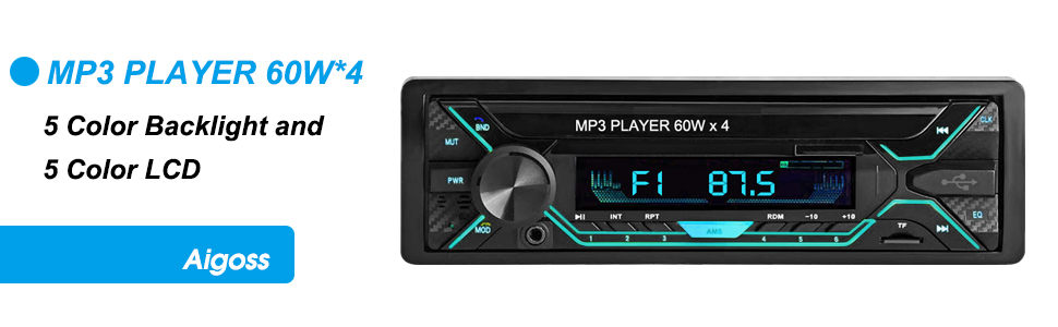 Aigoss Car Stereo with Bluetooth Support Hands Free Calling with Wireless Control and 5 Colour LED Light 1 Din Radio FM Media MP3 Player 60W x 4 USB//TF//SD//AUX Audio Receiver with File Reading