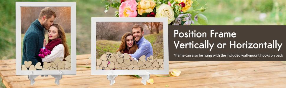 Wedding wooden frame hearts