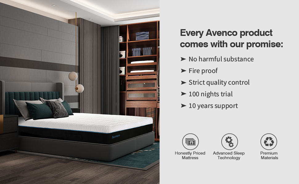 Memory foam mattress with our promise, no harmful substance, fire proof, strict quality control