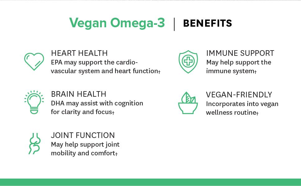 Heart Health, Brain Health, Joint Function, Immune Support, Vegan Friendly