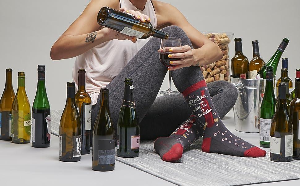 womens novelty funny fun socks wine wino red white cabernet moscato chardonnay booze alcohol winery