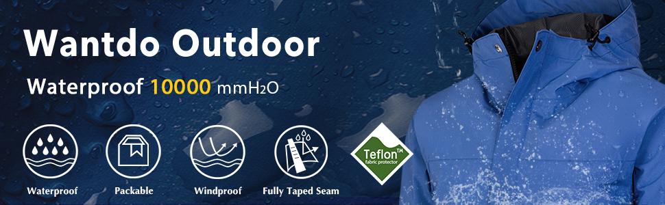 Wantdo Men's Waterproof Rain Jacket Breathable Raincoat Packable Sportswear