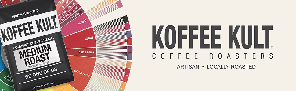 Koffee Kult Medium Roast Whole Bean Coffee 100% Arabica Beans