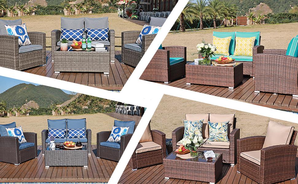 4 pcs patio sofa