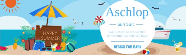 Aschlop Baby Boy UPF50+ Sun Suit S/S Summer UV Swimsuit