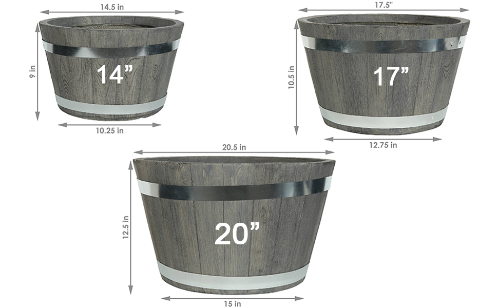 Outdoor traditional modern fiber clay pottery sturdy flower pot planter set detailed dimensions