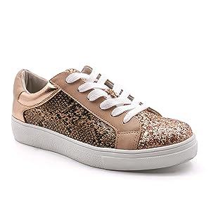 sneakers in pitone rosa glitterato