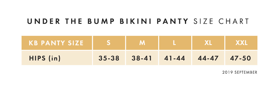 Bikini panty size chart