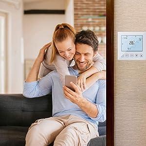 WiFi Smart Thermostat Programmable Underfloor Heating Compatible Amazon Echo/Google Home/IFTTT/Tuya