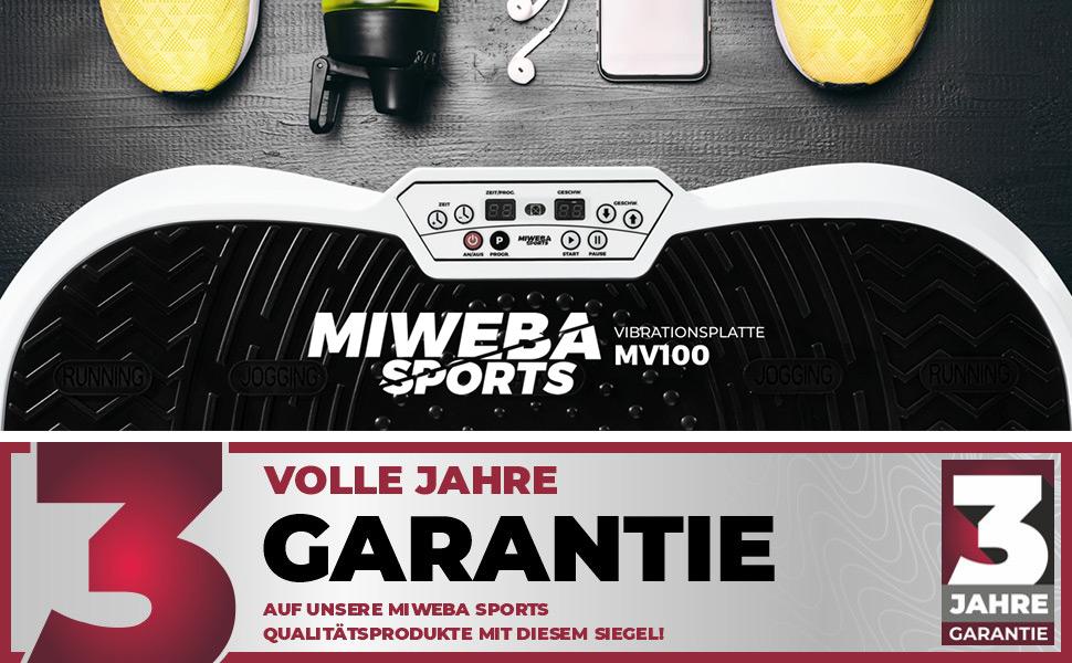 Oszillierend Miweba Sports Fitness 2D Vibrationsplatte MV100-3 Jahre Garantie 3 multidimensionale Vibrationszonen 250 Watt