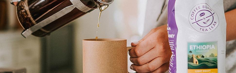 Coffee Bean and Tea Leaf Coffee, whole bean, ground,