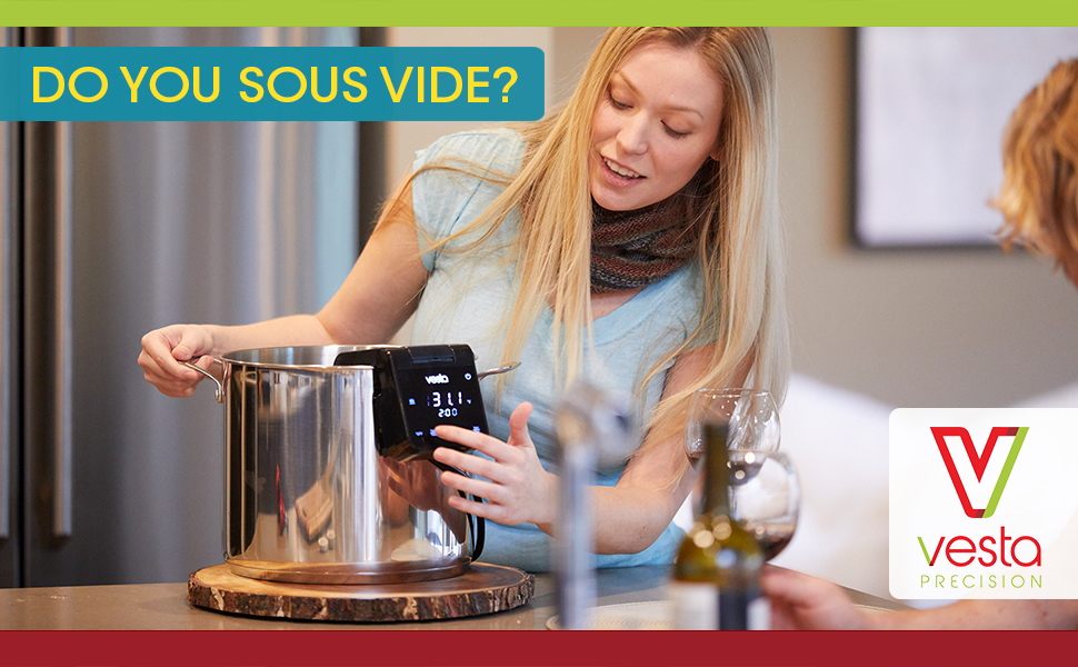 Woman setting the time and temperature on the Imersa Elite sous vide cooker in kitchen