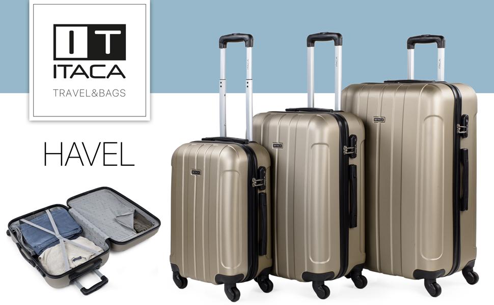 Lot de 2 valises de Voyage rigides en polypropyl/ène avec lumi/ère TSA Lock et r/ésistantes Moyennes et Grandes Tailles 760316 ITACA Color Bleu Marine