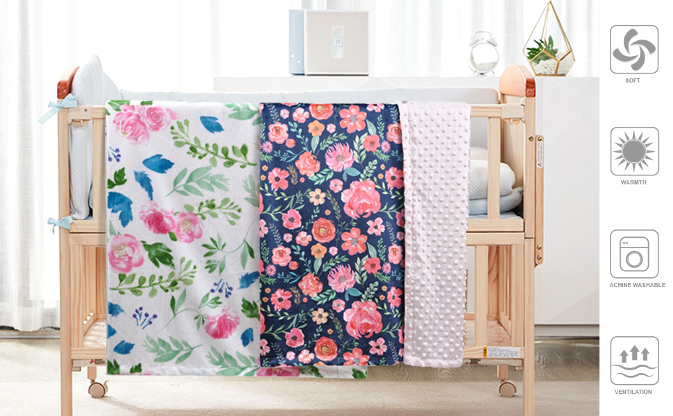Receiving Blanket with Pink Floral Multicolor Printed Blanket 30x40 75x100cm HOMRITAR Baby Blanket for Girls Super Soft Double Layer Minky with Dotted Backing