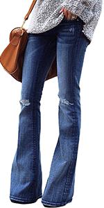 jeans pants women bell bottom jeans wide flare jeans for women