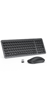 Rechargeable Keyboard and Mouse - Black & Grey