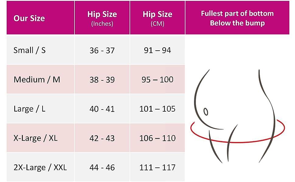 maternity panties size chart