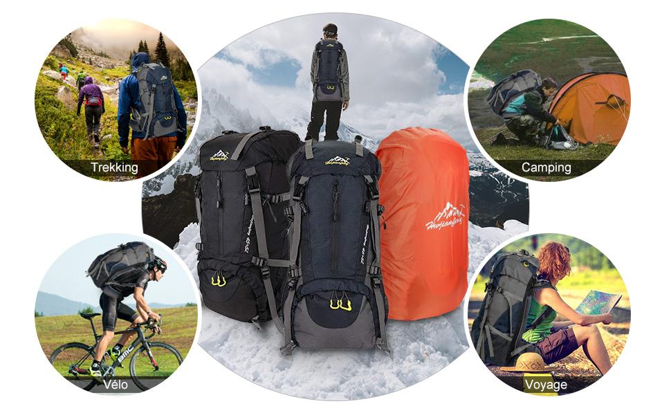 SKYSPER Sac /à Dos de Randonn/ée Homme Femme avec Housse de Pluie 50L Sac /à Dos Voyage Imperm/éable R/ésistant aux D/échirures Grande Capacit/é Sac /à Dos Trekking pour Alpinisme Sports Camping