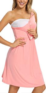 GLAMIX Maternity Nursing Snap Button Nightgown