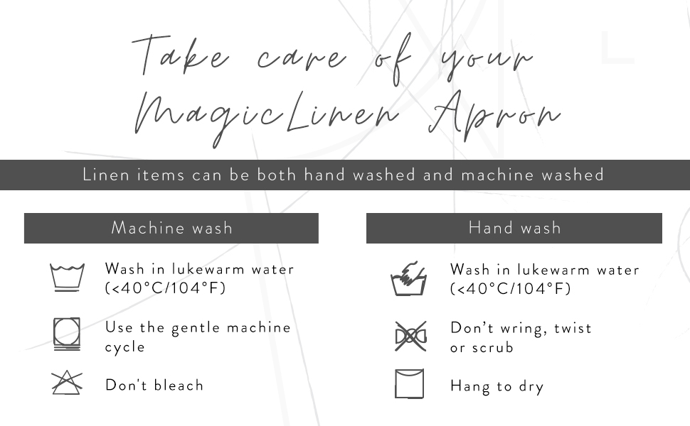MagicLinen 100% Linen Apron - Cooking, Gardening, Grilling, Painting - Perfect for Women and Men