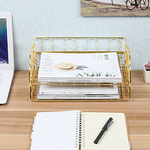 Gold Paper Tray Organizer for Desk