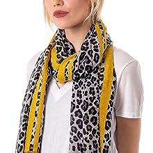 Mustard Leopard scarf