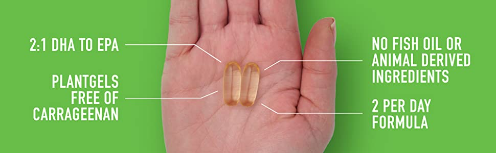 DHA EPA Vegan Omega free of carageenan no fish or animal ingredients 2 per serving