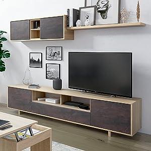 Habitdesign 1F6682BO - Mueble de salón Moderno, modulos Comedor Belus, Medidas: 200 cm x 41 cm de Profundidad (Blanco Brillo - Roble Canadian): Amazon.es: Hogar