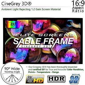 elite screens elite screen manual fixed portable  projector projection screen CineGrey3D CineGrey5d