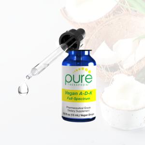 vegan A d3 k2 full spectrum liquid drops absorption mct oil gmp filler free bones healthy arteries