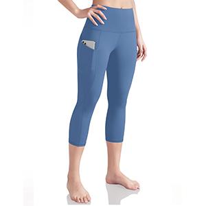 ODODOS Womens High Waist Yoga Capris with Side Pockets