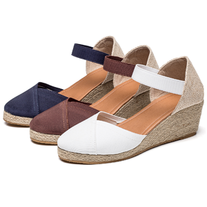 FEATURES –Wedges Shoes for Woman, closed Toe, Open Back, Ankle Straps and Adjustable Elastic Band,