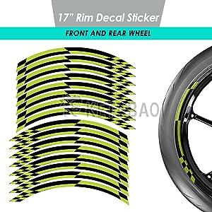 KETABAO 17 Wheel Rim Decals Stickers Stripes Tape Wrap DIY Decoration 16 pcs CHECK For Honda Kawasaki Black Green