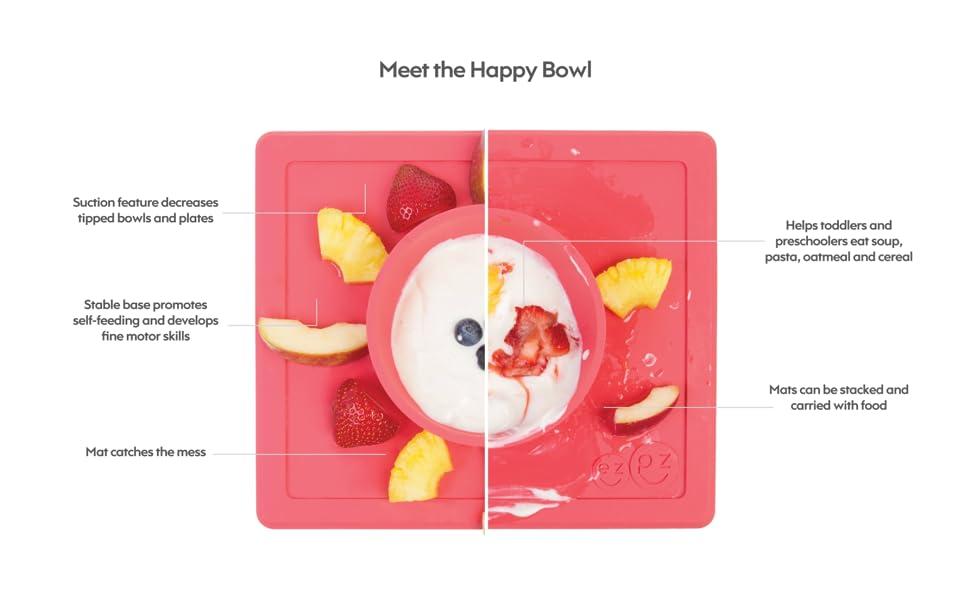 ezpz Happy Bowl - One-Piece Silicone placemat + Bowl