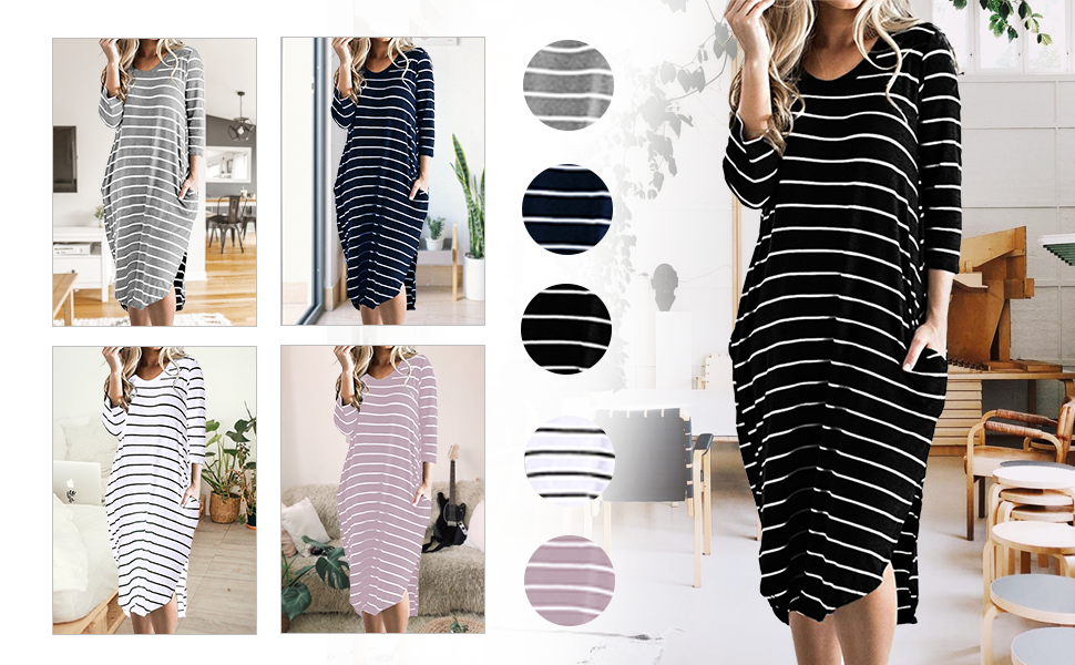 t shirt dress for women 3/4 sleeve striped dresses with pockets casual maxi dress