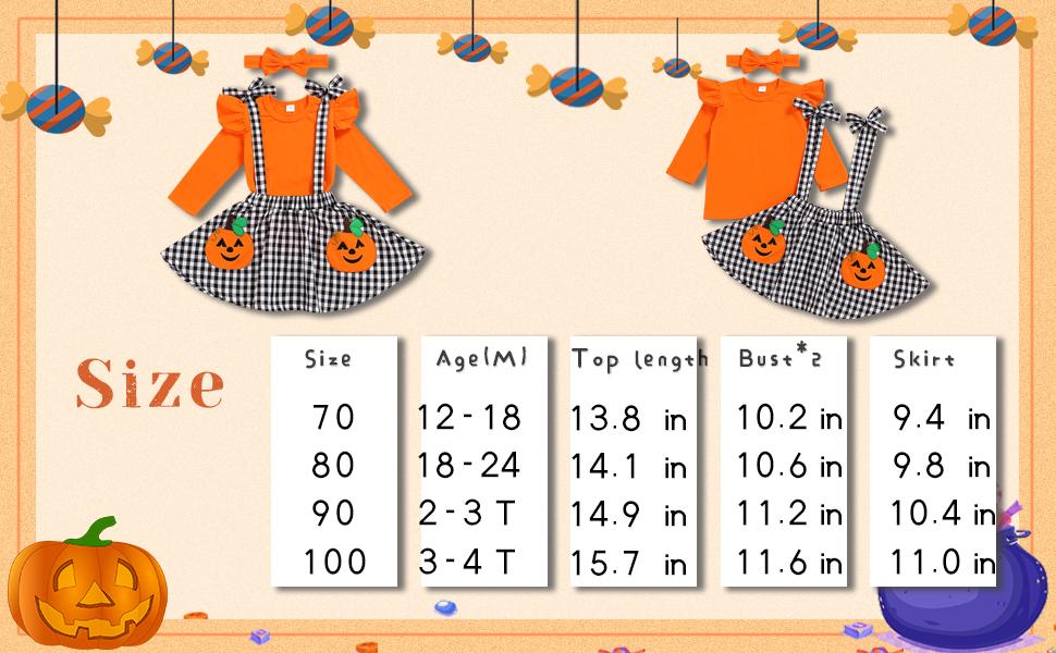 baby girl halloween skirt outfit set