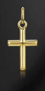 Amberta Unisex 9K Yellow Gold Cross Pendant