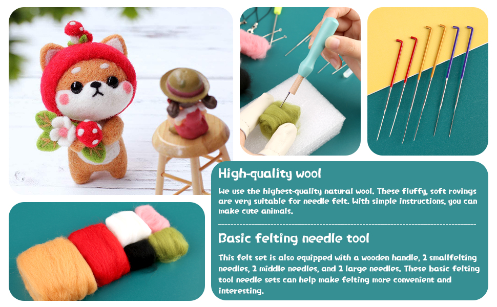 Strawberry Bear Needle Felting Beginner Felt Animals Wool Felting Kits with Tools for DIY Felting Starters and Kids DIY Needle Felting Kit