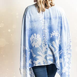 DEMDACO Sketches of Nature Soft Blue Polyester Fabric Kimono on model, showing back