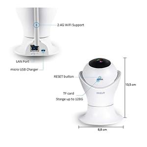 RCA RC-201 cámara de seguridad wifi tamaño compacto y ligero