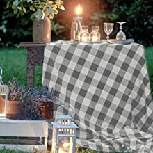 Gray and cream tablecloth