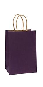 "BagDream 5.25x3.75x8"" Purple Paper Bags 100PCS"