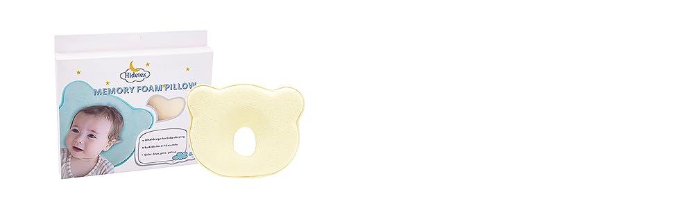 anti baby flat head pillow yellow