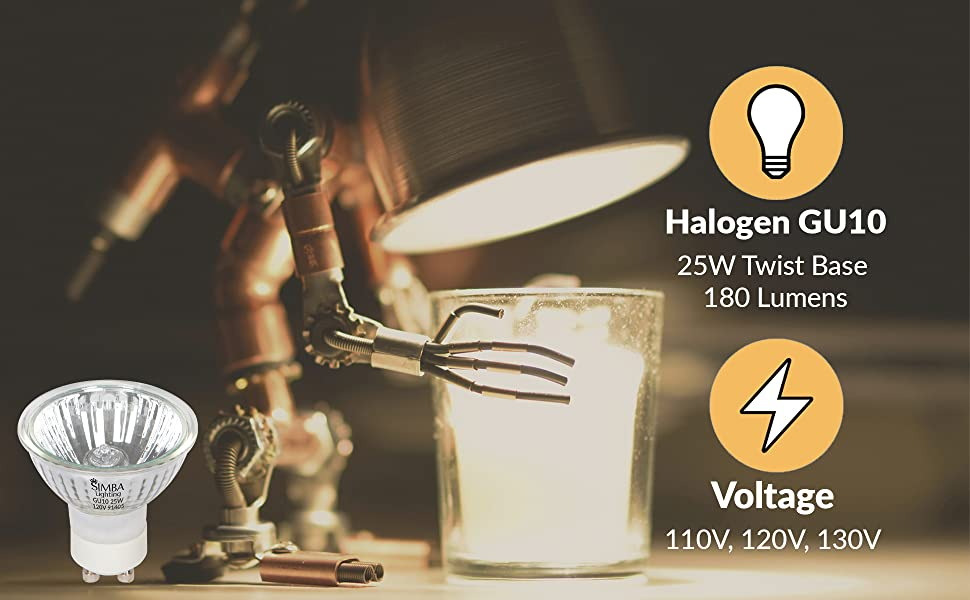 Simba Lighting halogen gu10 mr16 twist-n-lock twistline 25 watt 25w 110v 120v 130v 180 lumens candle