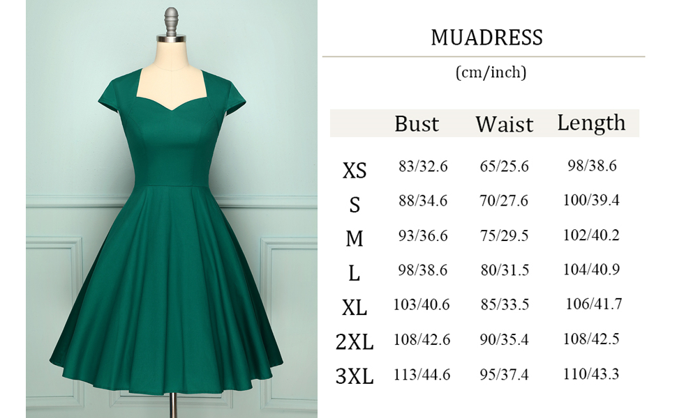 1960s Vintage Dress Size Chart