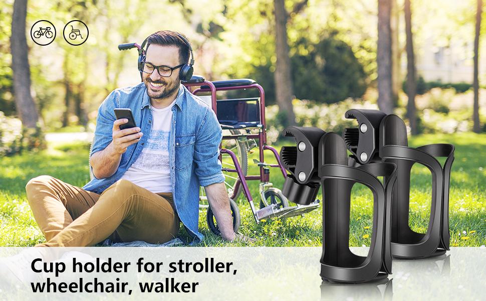 2x Stroller Drink Cup Holder Rotatable for Walker Rollator Elderly Balck